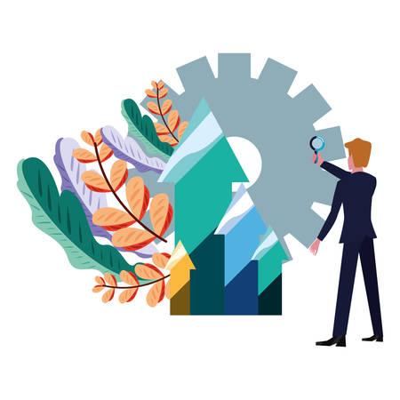businessman with magnifier gear arrows bank vector illustration vector illustration