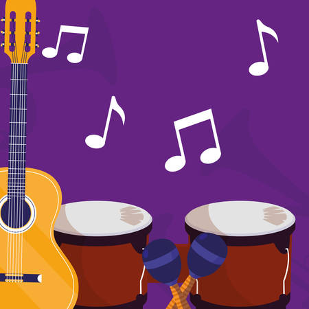 guitar and timbals instruments musical vector illustration design Иллюстрация