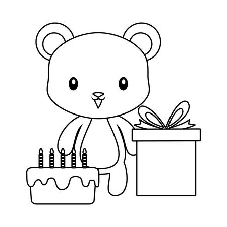 cute bear with cake of birthday and gift box vector illustration design 일러스트