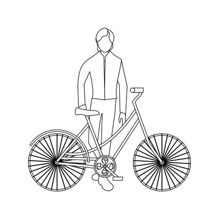 man riding bicycle linear on white background vector illustration Çizim