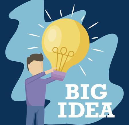 man holding light bulb idea icon vector illustration design Ilustração