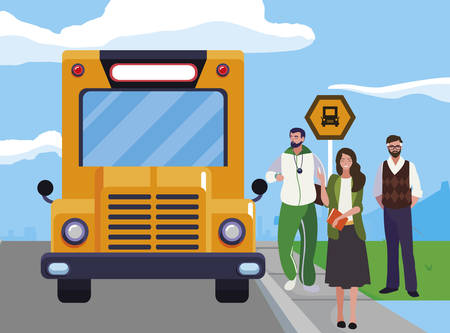 teachers classic and sports in stop bus vector illustration design Stock Illustratie