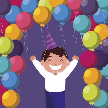 cute happy boy with birthday balloons helium vector illustration design Ilustracja