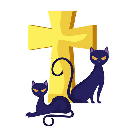cats animals of halloween with cross vector illustration design