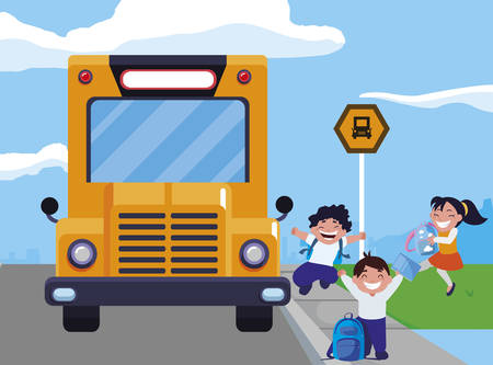 happy little school kids in the bus stop vector illustration design Stock Illustratie