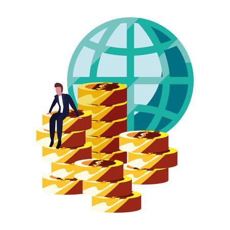 businessman money world currency bank vector illustration