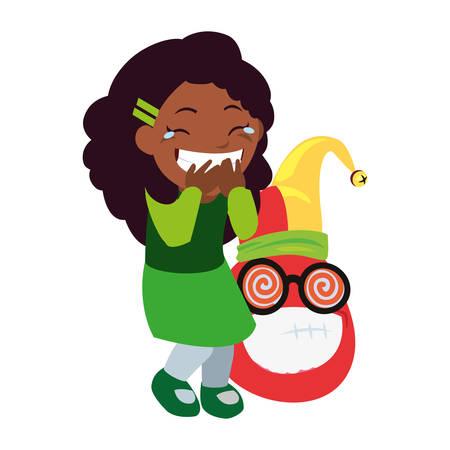 girl emoji face april fools day vector illustration Ilustrace