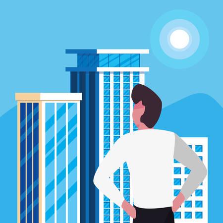 businessman urban building city background vector illustration