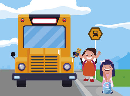 happy little school girls in the bus stop vector illustration design Stock Illustratie