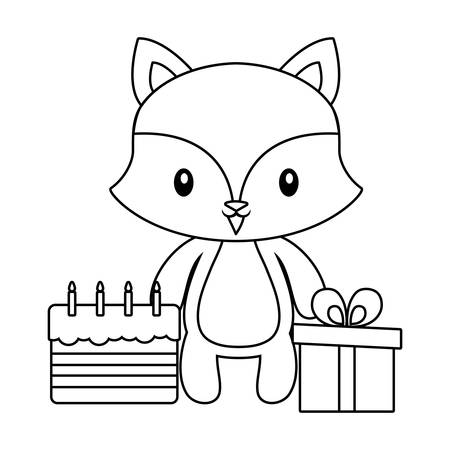 cute fox with cake of birthday and gift box vector illustration design 일러스트