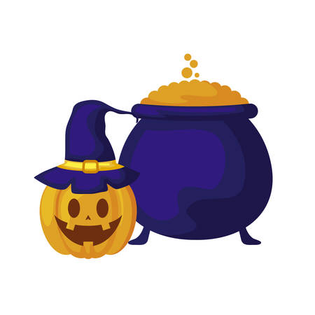 halloween pumpkin with cauldron of witch vector illustration design Stock Illustratie