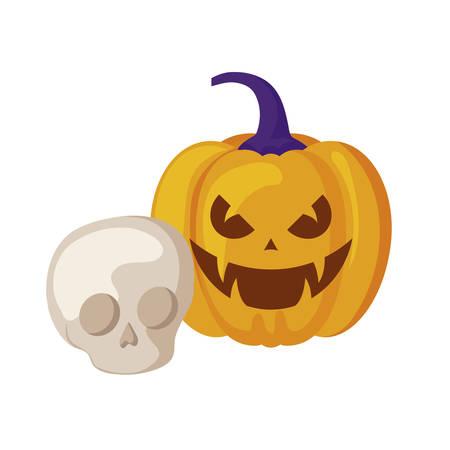 halloween pumpkin with skull isolated icon vector illustration design