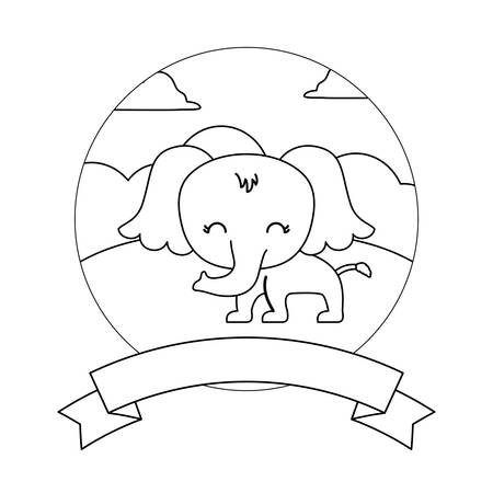 cute elephant in landscape with frame and ribbon vector illustration design