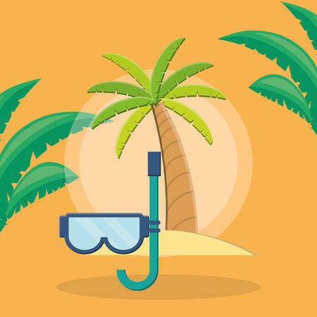 trees palms beach scene with snorkel vector illustration design Фото со стока - 129515645