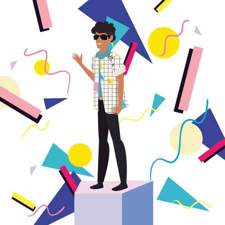man character retro 80s style memphis background vector illustration Stock Illustratie
