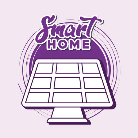 smart home design with solar panel icon over purple background, colorful line design. vector illustration Banque d'images - 129523848
