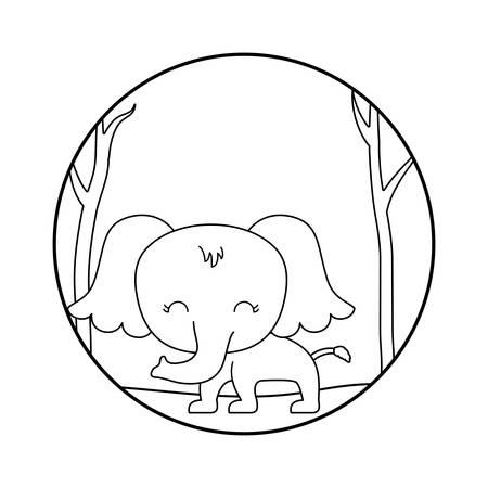 cute elephant animal in forest vector illustration design Stock Illustratie