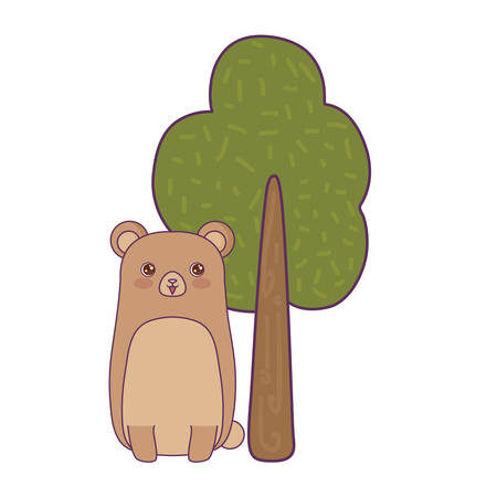 cute bear animal with tree plant vector illustration design Çizim