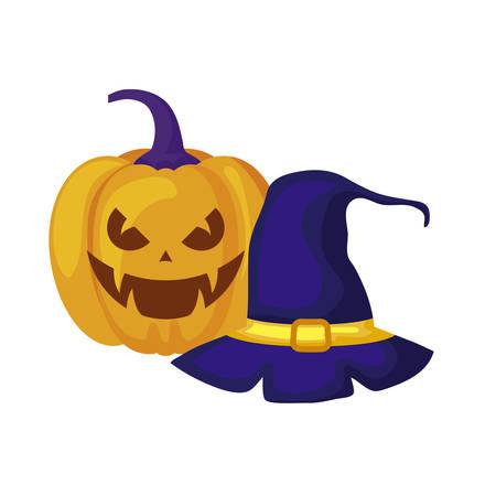 halloween pumpkin with witch hat vector illustration design Stock Illustratie