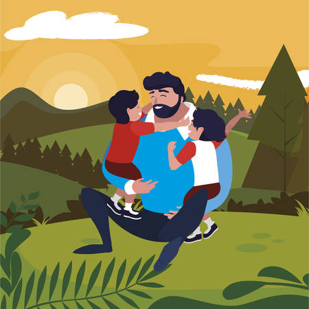 father with sons characters in the field vector illustration design Stock Illustratie