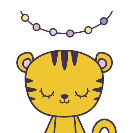 cute tiger animal with garlands hanging vector illustration design