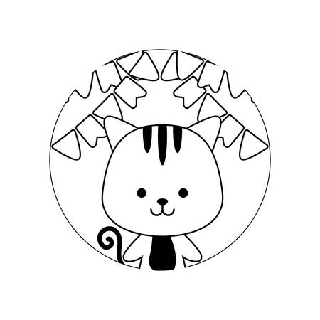 cute tiger in frame circular with garlands vector illustration design Çizim