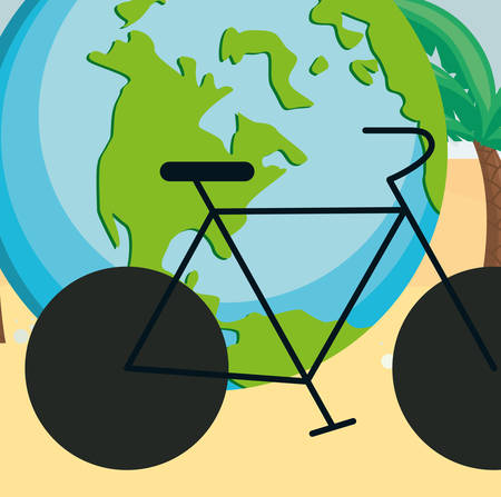 world planet earth with bicycle vector illustration design Foto de archivo - 129524339