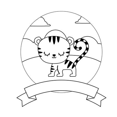 cute tiger in landscape with frame and ribbon vector illustration design