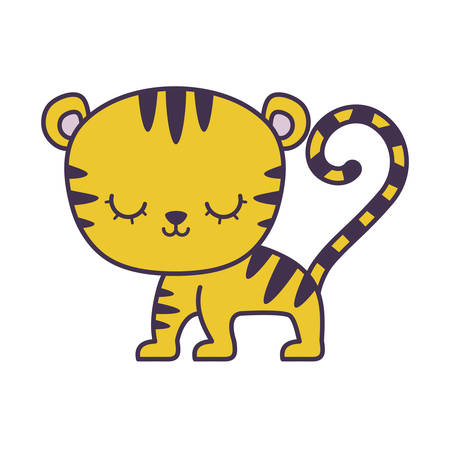cute tiger animal isolated icon vector illustration design Çizim