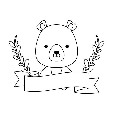 cute bear animal with ribbon and branches of leafs vector illustration design Çizim