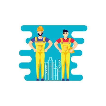 worker construction man avatar character vector illustration design