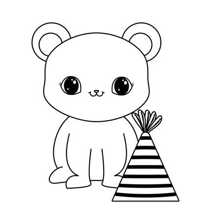 cute bear animal with hat party vector illustration design Çizim