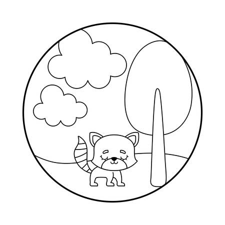 cute raccoon animal in landscape scene vector illustration design Vectores