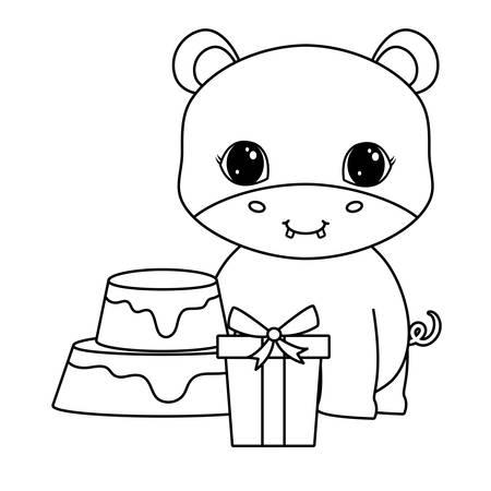 cute hippopotamus with cake of birthday and gift box vector illustration design Stock Illustratie