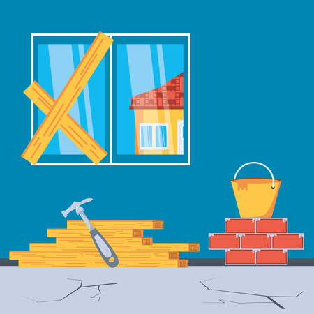 interior of house under construction with tools vector illustration design