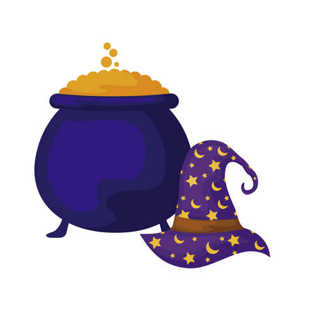 cauldron of halloween with hat wizard vector illustration design