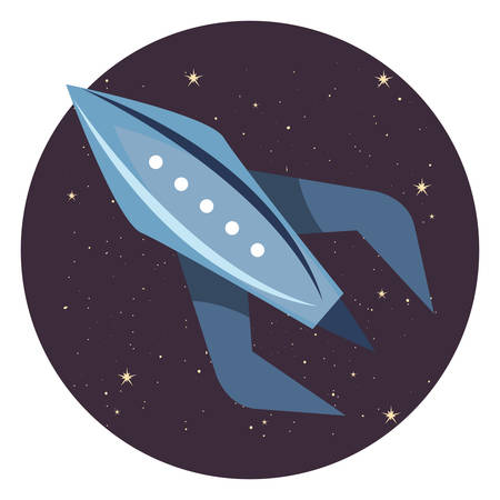 rocket spaceship travel explorer space vector illustration Çizim