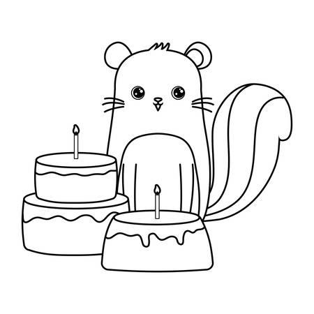 cute chipmunk with cakes of birthday vector illustration design Çizim