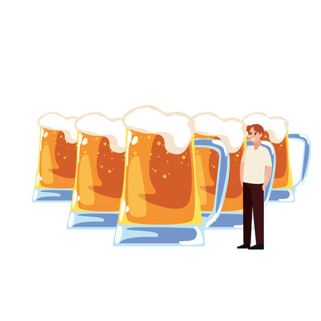 dad with cold beers happy fathers day vector illustration Çizim