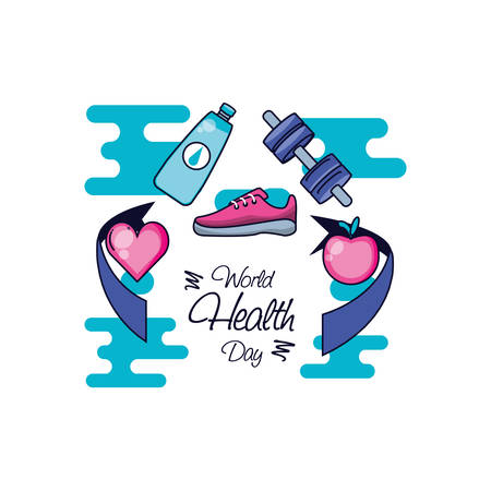world health day with sports accessories and set icons vector illustration design Illustration