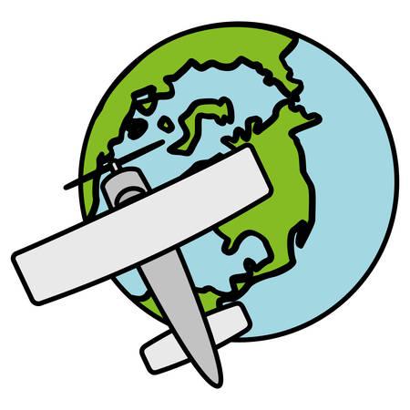 world planet earth with small plane vector illustration design Foto de archivo - 129527739