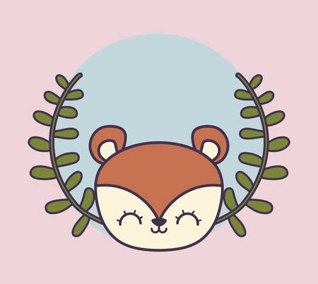 head of cute chipmunk in crown leafs vector illustration design
