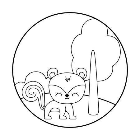 cute chipmunk animal in landscape vector illustration design Çizim