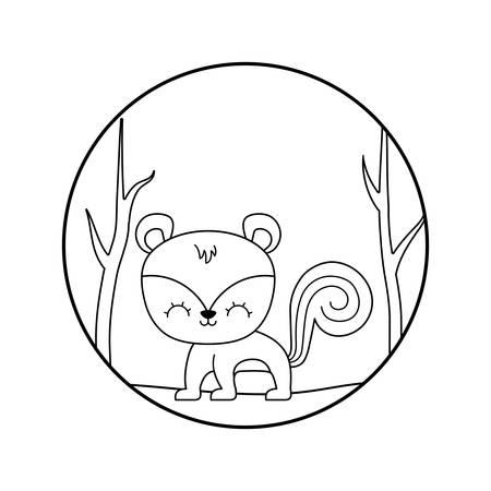 cute chipmunk animal in forest scene vector illustration design