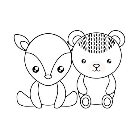 cute little bear with reindeer baby character vector illustration design