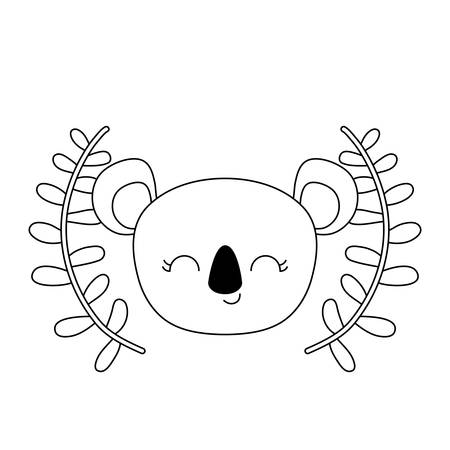 head of cute koala with crown leafs vector illustration design Çizim
