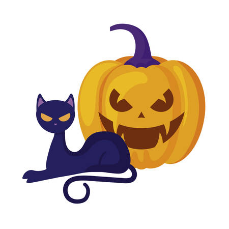 halloween pumpkin with cat isolated icon vector illustration design