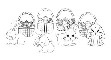set cute rabbits with baskets and eggs of easter vector illustration design