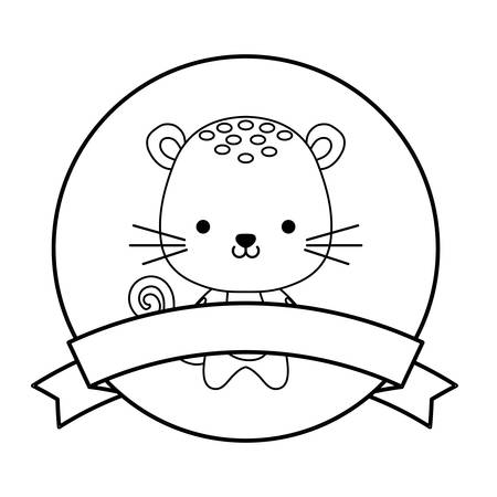cute tiger animal with ribbon in frame vector illustration design