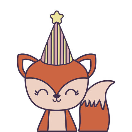 cute fox animal with hat party vector illustration design